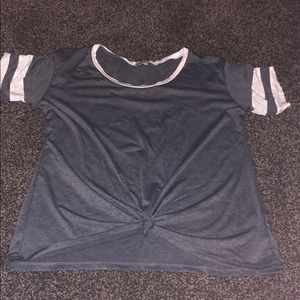 Tie front baseball T